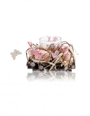 Composizione nido piccola rosa