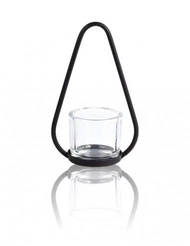 Porta tealight in ferro con vetro