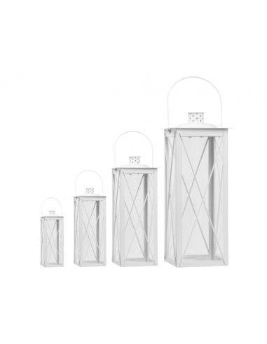 Lanterna vetro metallo Bianca
