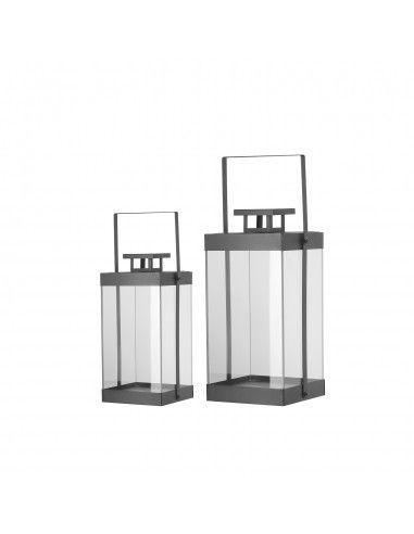 Lanterna vetro metallo nero